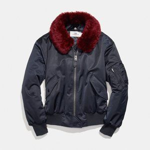 Coach Navy Bomber Puffer Jacket with Fur Collar